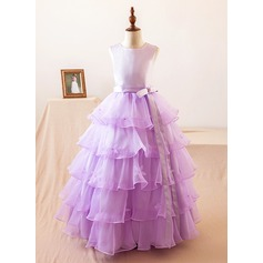 Ball Gown Floor-length Flower Girl Dress - Organza/Satin Sleeveless Scoop Neck With Bow(s)