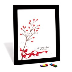 Personalized Red Bow Canvas Fingerprint Painting