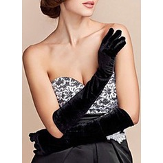 Velvet Elbow Length Bridal Gloves (014151725)