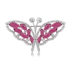 Butterfly Shaped Zircon Copper Platinum Plated Ladies' Fashion Brooches