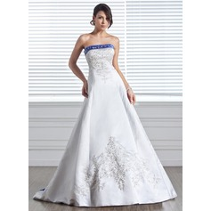 A-Line/Princess Strapless Court Train Satin Wedding Dress With Embroidered Sash Beading