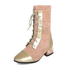 Women's Leatherette Chunky Heel Boots Mid-Calf Boots Martin Boots With Imitation Pearl Lace-up Jewelry Heel shoes