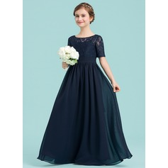 A-Line/Princess Scoop Neck Floor-Length Chiffon Junior Bridesmaid Dress (009148411)