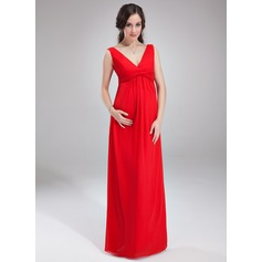 Empire V-neck Floor-Length Chiffon Maternity Bridesmaid Dress With Ruffle (045004386)