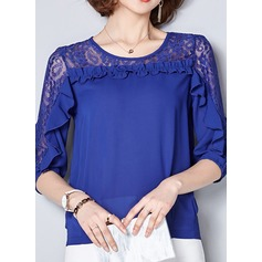 Plain 1/2 Sleeves Chiffon Round Neck Casual Blouses Blouses (1003160267)