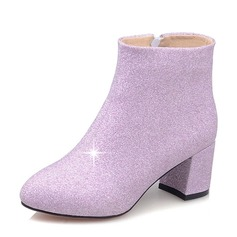 Women's Sparkling Glitter Chunky Heel Boots Ankle Boots shoes