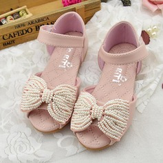 Girl's Peep Toe Microfiber Leather Flat Heel Sandals Flats Flower Girl Shoes With Bowknot Imitation Pearl Velcro