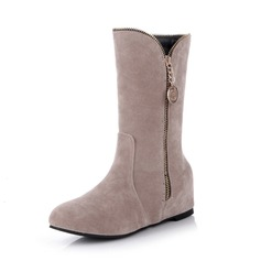 Women's Suede Leatherette Low Heel Boots shoes