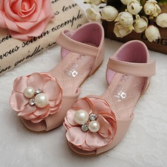 Girl's Peep Toe Leatherette Flat Heel Sandals Flats Flower Girl Shoes With Satin Flower Velcro Crystal