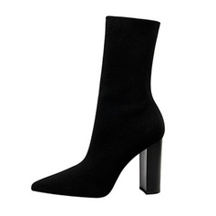 Women's Mesh Chunky Heel Pumps Closed Toe Boots Mid-Calf Boots shoes