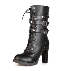 Women's Leatherette Chunky Heel Ankle Boots Martin Boots With Sparkling Glitter Braided Strap shoes