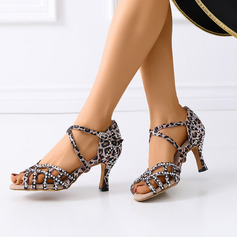 Women's Satin Sandals Latin Modern Ballroom With Rhinestone Dance Shoes