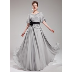 A-Line/Princess V-neck Floor-Length Chiffon Evening Dress With Sash Beading Flower(s) Sequins