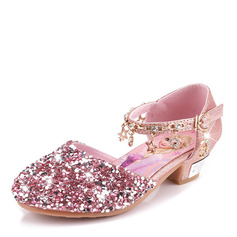 Girl's Closed Toe Leatherette Flower Girl Shoes With Imitation Pearl Sequin Crystal