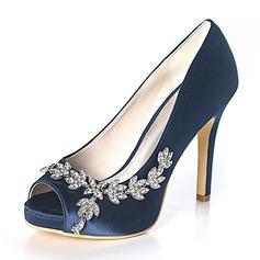 Women's Silk Like Satin Stiletto Heel Peep Toe Platform Pumps With Rhinestone