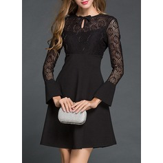 Lace With Lace/Bowknot/Hollow/Ruffles Knee Length Dress (199135010)