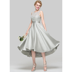 Scoop Neck Asymmetrical Satin Cocktail Dress (270193961)