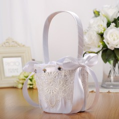 Elegant Flower Basket in Cloth With Ribbons/Lace