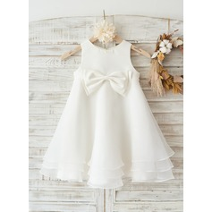 Boho Beach Ivory Satin Organza Wedding Flower Girl Knee-length Dress with Bow