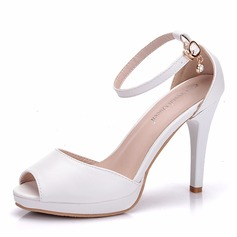 Women's Leatherette Stiletto Heel Peep Toe Platform Pumps