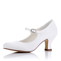 Women's Cloth Chunky Heel MaryJane With Buckle