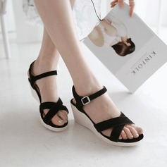 Women's Suede Wedge Heel Sandals Wedges Peep Toe Slingbacks shoes