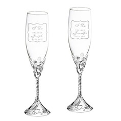 Personalized Heart with Heart Design Glass/Aluminum Toasting Flutes  (118040921)