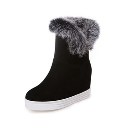 Women's Suede Wedge Heel Pumps Wedges Mid-Calf Boots With Fur shoes (116150538)