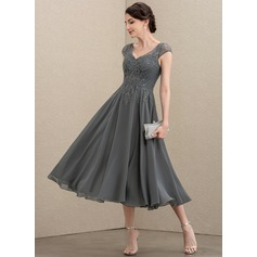 A-Line V-neck Tea-Length Chiffon Lace Cocktail Dress With Beading Sequins