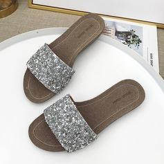 De mujer Cuero Tacón plano Sandalias Planos con Lentejuelas zapatos
