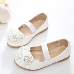 Girl's Leatherette Flat Heel Round Toe Flats With Bowknot Imitation Pearl