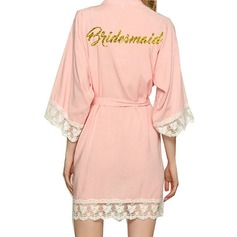 Personalized Satin Bride Bridesmaid Mom Glitter Print Robes