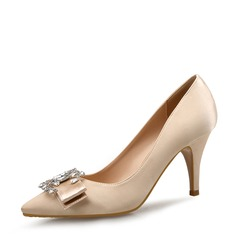 Femmes Satiné Talon stiletto Escarpins Bout fermé avec Bowknot Boucle chaussures
