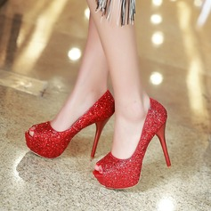 Women's Sparkling Glitter Stiletto Heel Pumps Platform Peep Toe With Sparkling Glitter shoes (085128301)