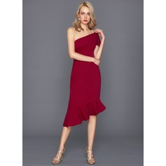 Sheath/Column One-Shoulder Asymmetrical Satin Cocktail Dress With Cascading Ruffles