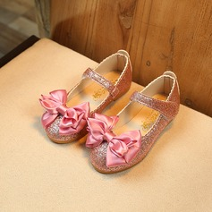 Girl's Closed Toe Leatherette Flat Heel Flower Girl Shoes With Bowknot Sparkling Glitter Velcro
