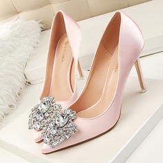 Women's Satin Stiletto Heel Pumps Closed Toe With Rhinestone shoes (085114782)