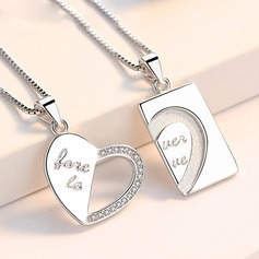Personalized Couples' Eternal Love With Heart Cubic Zirconia Engraved Necklaces Necklaces For Bride/For Couple