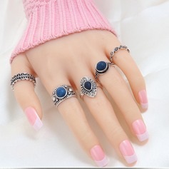 Chic Alloy Ladies' Fashion Rings (Set of 5)