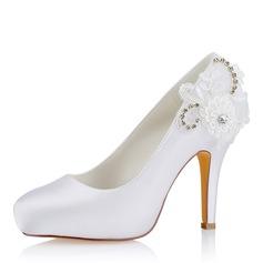 Frauen Seide wie Satin Stöckel Absatz Geschlossene Zehe Absatzschuhe Sandalen mit Stich Spitzen
