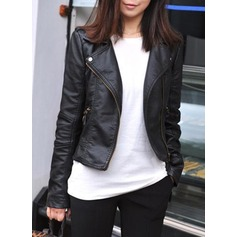 Leather Long Sleeves Plain Jackets Coats (1004162274)