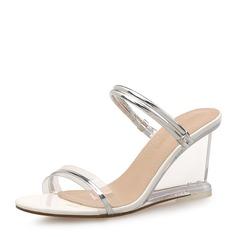 Femmes PU Talon compensé Sandales Compensée À bout ouvert Escarpins avec Autres chaussures