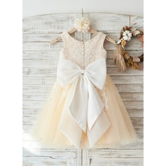 Ivory Lace Champagne Tulle Wedding Flower Girl Knee-length Dress with Big Bow