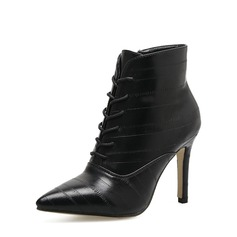 Women's PU Stiletto Heel Pumps Boots Ankle Boots With Zipper Lace-up shoes