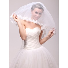 Two-tier Lace Applique Edge Waltz Bridal Veils With Applique