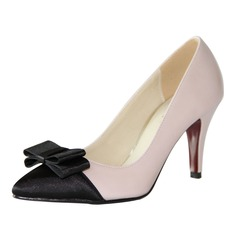 Women's Satin Leatherette Stiletto Heel Pumps Closed Toe shoes
