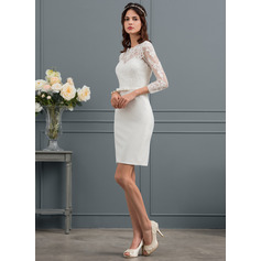 Sheath/Column Scoop Neck Knee-Length Stretch Crepe Wedding Dress With Sequins Bow(s) (265193346)