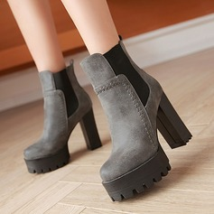 Women's PU Chunky Heel Pumps Platform Boots With Elastic Band shoes (088137535)
