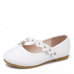 Jentas Round Toe Lukket Tå Microfiber Lær flat Heel Flate sko Flower Girl Shoes med Blomst