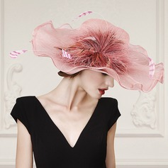 Ladies' Cambric With Feather Floppy Hats/Kentucky Derby Hats/Tea Party Hats